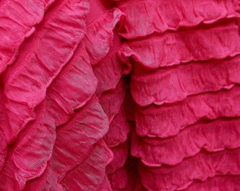 "1"" Pink Ruffle Stretch Fabric BTY"