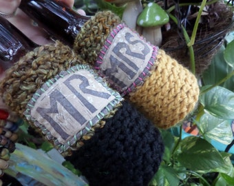 Wedding toast, Mr and Mrs, Bride and Groom, Cheers, Wedding Cozy, His and Hers, wedding gift, bridal shower, Newlywed, Beer cooler,Boho,A022