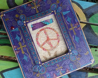 Prayer Flag, Peace Flag, Hippie Singleton, embellished art, framed quilt, hippie decr, painted frame, religious icons, peace sign,