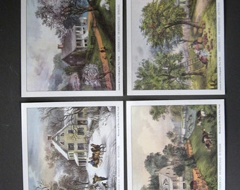Currier and Ives Vintage Lithograph Prints Four Seasons of The American Homestead Lot of 4
