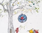 Pinata Tree, Original Watercolor and Ink Painting