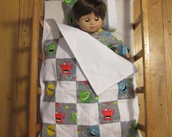American Girl Bitty Baby Boy Doll Quilt and Pillow Monsters