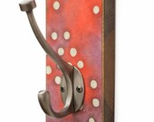 Red Wall Hook - Handmade Paper - White Dots - Batik Paper - Dog Leash Hook - Purse  Hanger - Back Hall Organizer - Key Holder - Towel Hanger
