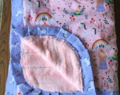 NEW...Princess and Rainbow Unicorn Blanket- HUGE Minky Lap Blanket - Personalization Available