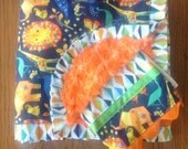 Orange and Navy Jungle Animal Minky Blanket and Burp Cloth Set....personalization available