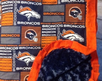 Denver Bronco Minky Blanket - HUGE - Adult Wrap Around Blanket