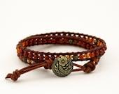Leather Wrap Bracelet with Goldstone Carnelian and Brass