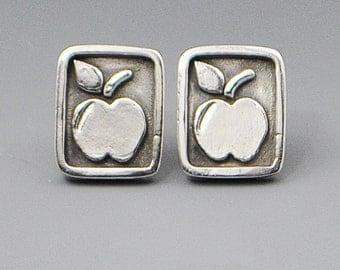 Knowledge- Apple Teacher Stud Post Wire Earrings