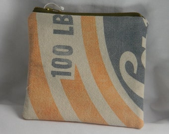 Zipper Pouch Made from Vintage Feed Bag