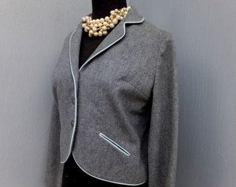 Vintage Bobbie Brooks Gray Wool jacket,  70s/80s Jacket, Winter Career Jacket