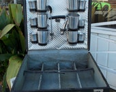 Art Deco Style Trave Bar Set Train Case With Aluminum Glasses And Accessory