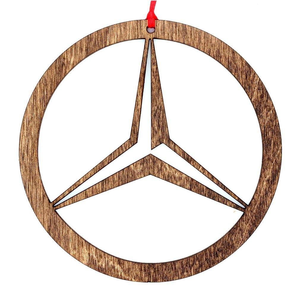 Wooden mercedes benz ornament for Mercedes benz christmas ornament