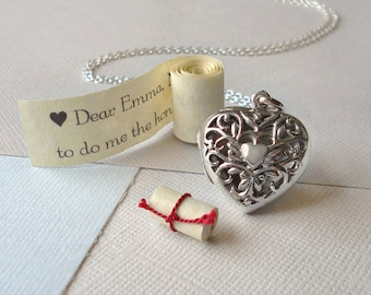 Sterling Silver Heart Love Message Locket