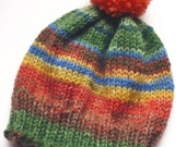 Patterned Woolly Hat for Blythe, Red, Green and Blue