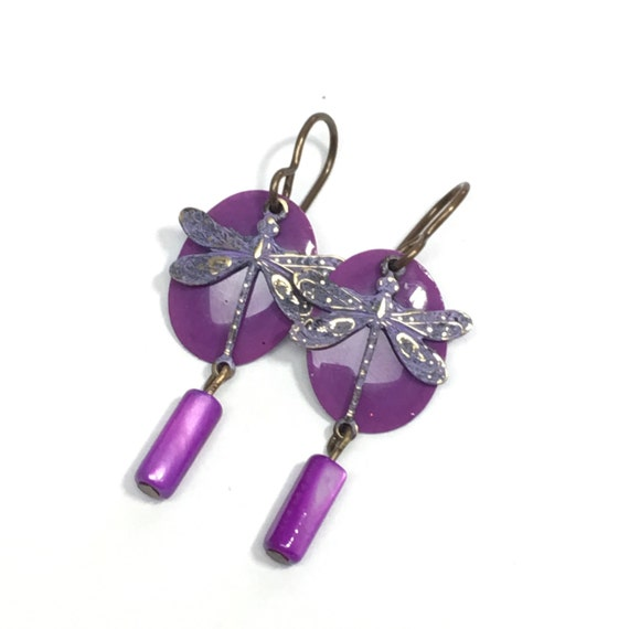 Purple painted dragonly earrings with Mother-of-Pearl dangles