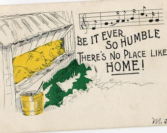 Pigs postcard, Be it ever so humble there's no place like home, vintage postcard, undivided antique postcard