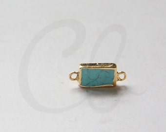 One Piece of Brass Framed Turquoise - Pendant - Link - 19x9mm (A-219)