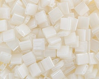 10 Grams Japanese Miyuki Tila Beads-White Opaque Glazed (TL512)