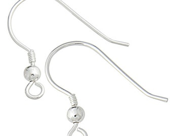 4 Pieces (2 Pairs) Sterling Silver Coil with Ball Earring Hooks - Fish Hook 0.028 Inch (2004)
