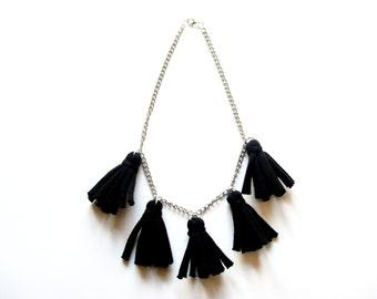 black tassel necklace, black fringe necklace, black jewelry, cotton necklace, black cotton jewelry, fringe jewelry, fringe accessories.