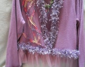 MidWinter Sale 20% Off SWEATER Open Cardigan Embellished Boho Romantic Fairylike - Sweater Remake - Wild Plums