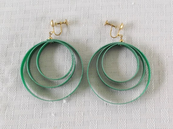 1960s Vintage Large Green Plastic Dangle Hoop Earrings Screw