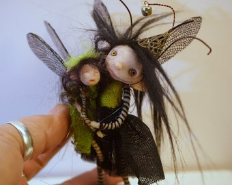 ooak poseable Mom and baby BUG Fairy  ( #31 ) pixie elf polymer clay art doll by DinkyDarlings