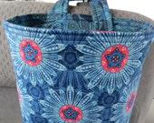 Car Trash Bag Reusable in Blue and Cream Flowers on a Dark Blue and Medium Blue Background, Car Accessory, Litter Bag