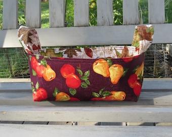 Fabric Basket Bin, Storage, Organization, Home Decor, Gift Bin, Fabric Bin, Fall. Apples and Pears, Small Size