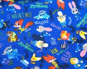 Disney licensed fabric  Disney Character  Zootopia  Print 50 cm by 53   cm or 19.6 by 21 inches ©disney