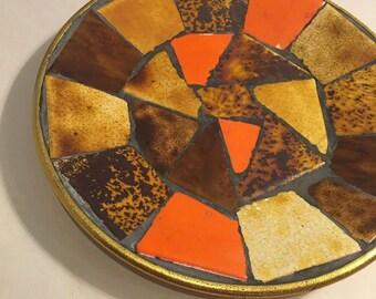 Sale - 1970s Orange & Brown mosaic tile plate