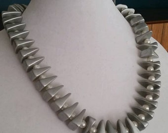 Sale - Modernist gray chunky necklace with faux pearls