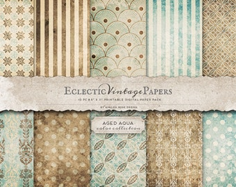 INSTANT DOWNLOAD - Eclectic Vintage Printable Papers - Aged Aqua - Personal and Commercial Use