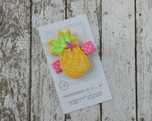 Pretty Yellow Pineapple Glitter Felt Hair Clip - Cute Fruit Clippies - pineapple felt hair bows - yellow and hot pink  pineapple hairbow