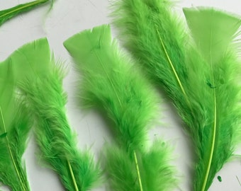TURKEY FEATHERS Loose Feathers , Lime green, BOGO - 13