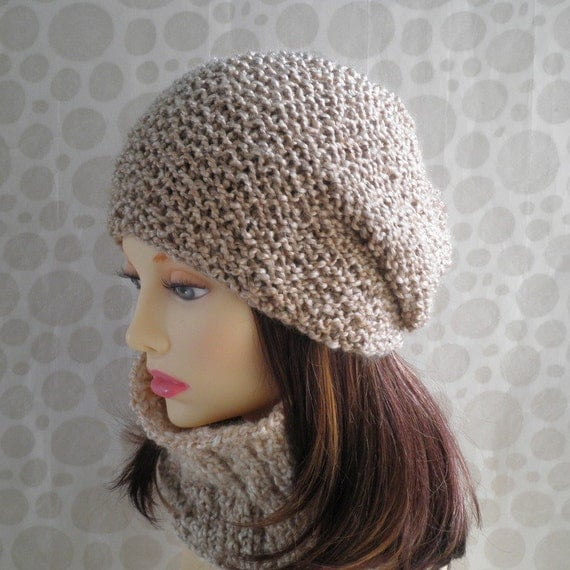 Slouchy Toque Knitting Pattern : KNITTING PATTERN/OCEAN Slouchy Beanie for Women and Men /Knit Round//Womans S...