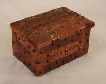 ARTS and CRAFTS Casket JewelryBox  Handcrafted copper  Wood brass studs app 9x6x6