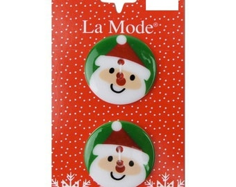 Clearance BUTTONS SANTA FACE Christmas buttons set of 2
