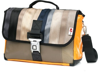613D Briefcase from RECYCLED car seatbelt, reclaimed car seat leather, reused truck tarp & automotive buckle - laptop shoulder courier bag