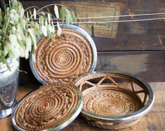 Pine Needle Trivets | Hot Pads | Table Protection | Rustic Holiday Entertaining | Fall Entertaining| Autumn Table Decor | Chrome and Wicker
