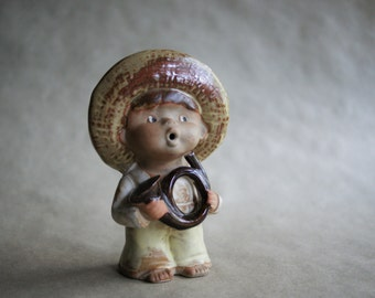 Vintage Boy with Horn Figurine Stoneware Pottery French Horn Child in Straw Hat Brown and Cream 1970s Era Knicknack Farm Boy