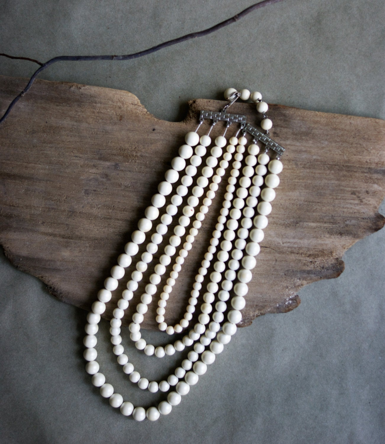 Vintage Pearl Choker Necklace: Vintage Pearl Choker Necklace 4 Strand Granduated Sizes