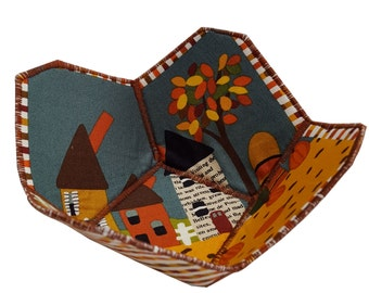 Small Reversible Fabric Bowl in Autumn Scene