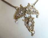 Tea party necklace steampunk neo victorian inspired filigree antiqued brass color necklace with crystals- Waltzing around his heart
