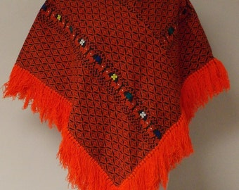 Vintage black woven poncho geometric animal floral red white blue teal yellow small