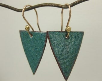 Speckled Green Enameled Earrings