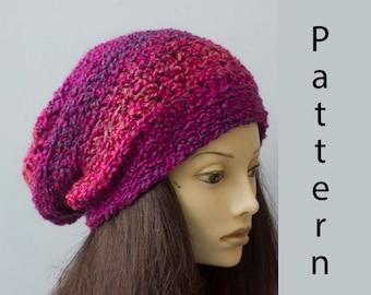 Easy Crochet Pattern, Slouchy Beanie Crochet Pattern,  Instant Download, Hat PDF Pattern, Chunky Hat Pattern