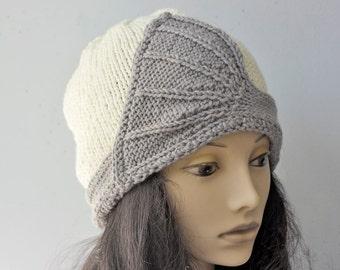 Flapper Hat, Gray White Hand Knit Hat, Cloche Hat, 1920's Style Hat, Woman's Hat, Winter Hat