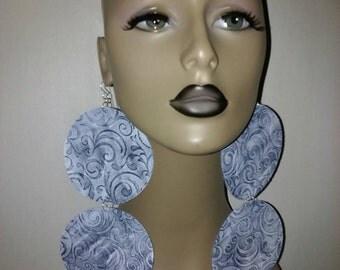 Dangling Beautiful Large Round Fabric Earrings Embellished with White Design, Women Earrings, Large Earrings, Big Earrings