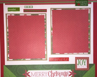 MERRY CHRISTMAS 12 x 12 premade scrapbook layout - Christmas